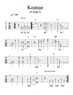 Keanae Hawaiian Steel Guitar Tablature